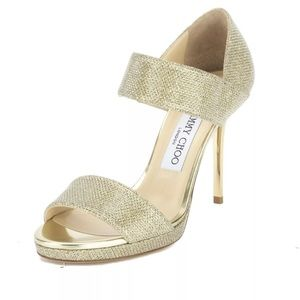 Authentic Jimmy Choo gold glitter sandals